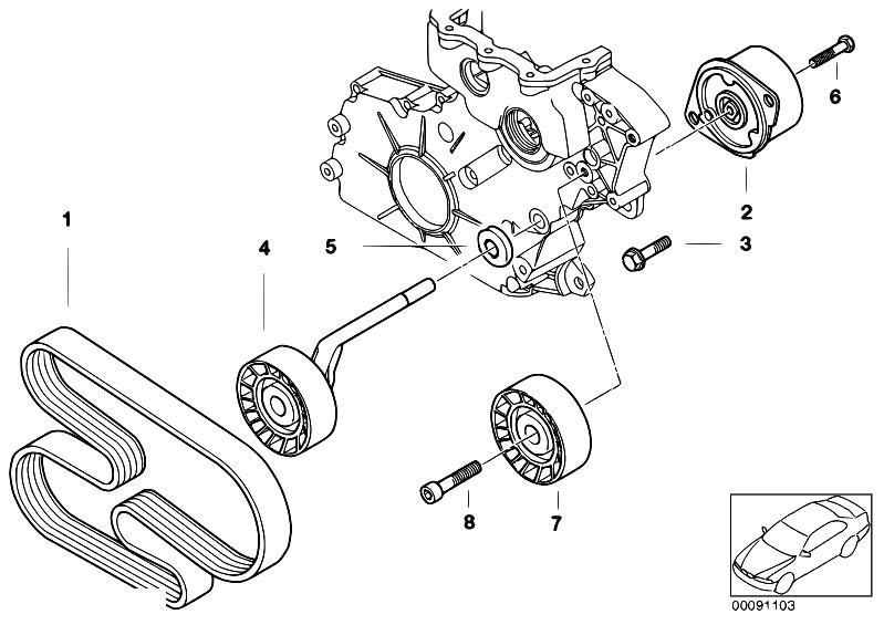 Original Parts For E60 520d M47n2 Sedan    Engine   Belt