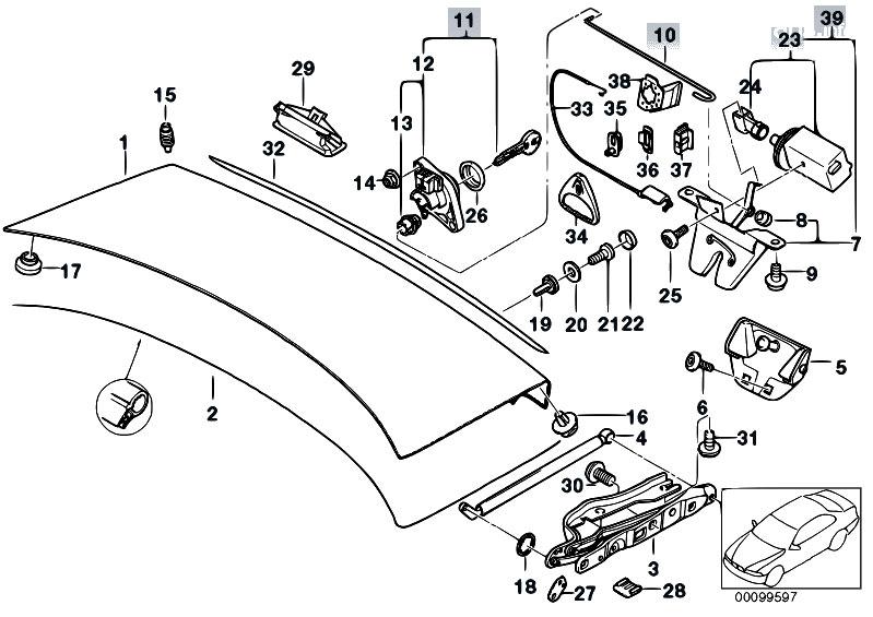 Original Parts For E39 M5 S62 Sedan Bodywork Single Ponents Trunk Lid Estorecentral: M5 BMW Trunk Latch Wiring Diagram At Ultimateadsites.com