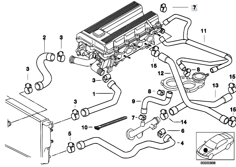 Cooling System Water Hoses on Bmw E46 Cooling System Diagram