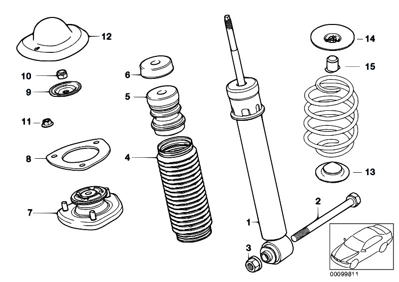 Original Parts for E53 X5 3 0d M57 SAV / Rear Axle/ Single