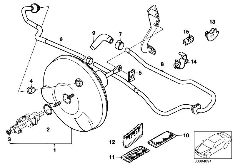 original parts for e46 318i n42 touring    brakes   power brake unit depression 2