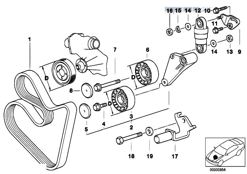 Original Parts For E39 540i M62 Touring    Engine   Belt