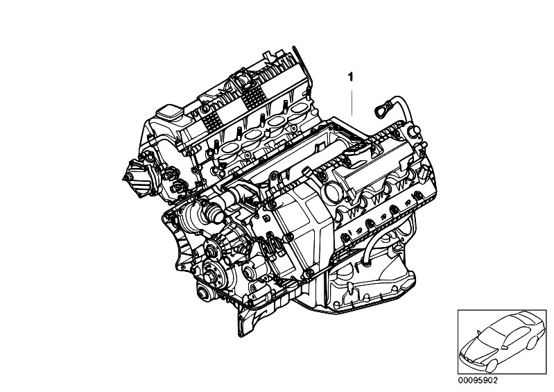 bmw e60 engine diagram original parts for e60 540i n62n sedan / engine/ short ...