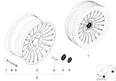E38 750iL M73N Sedan / Wheels/  Bmw Light Alloy Wheel Radial Spoke 61