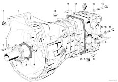 E30 318i M10 4 doors / Manual Transmission/  Zf S5 16 Housing Attaching Parts
