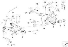 E39 528i M52 Sedan / Rear Axle/  Rear Axle Support Wheel Suspension