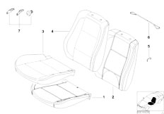 E83 X3 2.0d M47N2 SAV / Seats/  Basic Seat Upholstery Parts