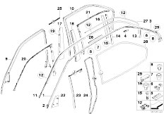 E38 740iL M62 Sedan / Vehicle Trim/  Door Covers Roof Mouldings Mountng Parts