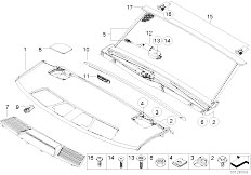 E65 730i M54 Sedan / Vehicle Trim Rear Window Shelf Sun Blind