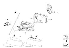 E65 730i M54 Sedan / Vehicle Trim Mounting Parts Outside Mirror