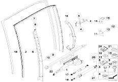 E38 750iLS M73N Sedan / Vehicle Trim/  Door Window Lifting Mechanism Rear
