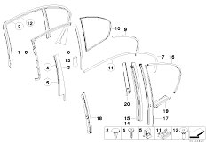 E65 730i M54 Sedan / Vehicle Trim Exterior Covers Door Rear