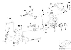 E60 520i M54 Sedan / Rear Axle Rear Axle Support Wheel Suspension