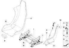 E46 M3 CSL S54 Coupe / Seats Recaro Sport Seat Seat Rail