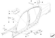 E90N 320i N43 Sedan / Bodywork Cavity Shielding Side Frame