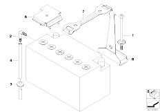 E83N X3 2.0d M47N2 SAV / Vehicle Electrical System/  Battery Holder And Mounting Parts