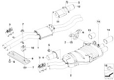 E46 330i M54 Touring / Exhaust System/  Centre And Rear Silencer