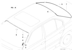 E38 740i M62 Sedan / Vehicle Trim/  Glazing Single Parts