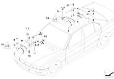 E38 750iLS M73 Sedan / Rear Axle Headlight Vertical Aim Control Sensor