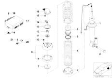 E38 750iLS M73 Sedan / Rear Axle Rear Spring Strut Assembly Edc Levell Device