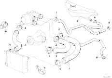 E34 535i M30 Sedan / Engine Cooling System Water Hoses