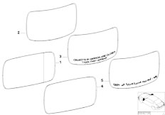 E65 730i M54 Sedan / Vehicle Trim Mirror Glas Basic
