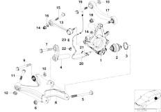 E38 750iLS M73 Sedan / Rear Axle Rear Axle Support Wheel Suspension