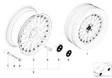 E38 750iL M73N Sedan / Wheels/  Bmw L Alloy Wheel Cross Spoke Comp Ii 42