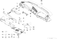 E38 740iL M62 Sedan / Vehicle Trim/  Trim Panel Dashboard Mounting Parts
