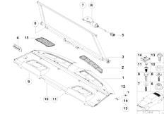 E38 750iLS M73N Sedan / Vehicle Trim/  Rear Window Shelf Sun Blind