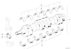 E34 535i M30 Sedan / Engine Crankshaft With Bearing Shells