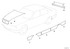 E34 525td M51 Sedan / Vehicle Trim Decorating Stripes Authorities