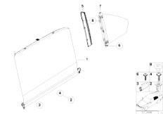 E38 750iLS M73N Sedan / Vehicle Trim/  Roller Sun Visor Rear Door