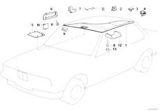 E34 525td M51 Sedan / Vehicle Trim Roof Trim Headlining Moulded Handle