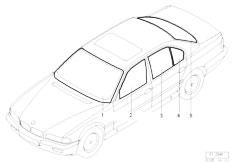 E38 750iLS M73N Sedan / Vehicle Trim/  Glazing
