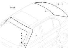 E38 750iLS M73N Sedan / Vehicle Trim/  Glazing Single Parts