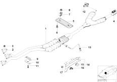 E39 528i M52 Sedan / Exhaust System/  Catalytic Converter Front Silencer