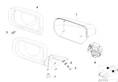 E38 740i M62 Sedan / Vehicle Trim/  Mounting Parts Outside Mirror