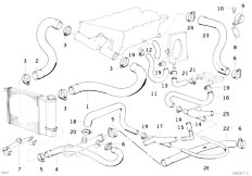 E30 318is M42 2 doors / Engine/  Cooling System Water Hoses
