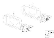 E38 740i M62 Sedan / Vehicle Trim/  Outside Mirror