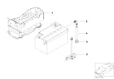 E46 325Ci M54 Cabrio / Vehicle Electrical System/  Battery Holder And Mounting Parts