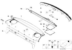 E46 M3 S54 Coupe / Vehicle Trim/  Rear Window Shelf Sun Blind Electr