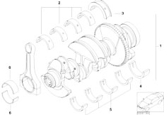 E46 316ti N42 Compact / Engine/  Crankshaft With Bearing Shells