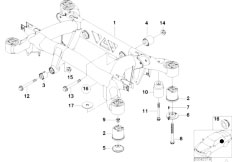 E38 750iLS M73 Sedan / Rear Axle Rear Axle Carrier