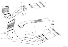 E34 540i M60 Touring / Heater And Air Conditioning Heater Duct Rear Covering