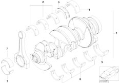 E46 316Ci N45 Coupe / Engine/  Crankshaft With Bearing Shells